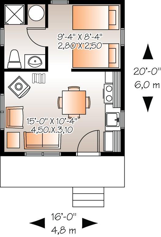 Plano de casa 1 piso 1 ba o 1 dormitorio de 30 metros for Apartamentos de 30 metros cuadrados