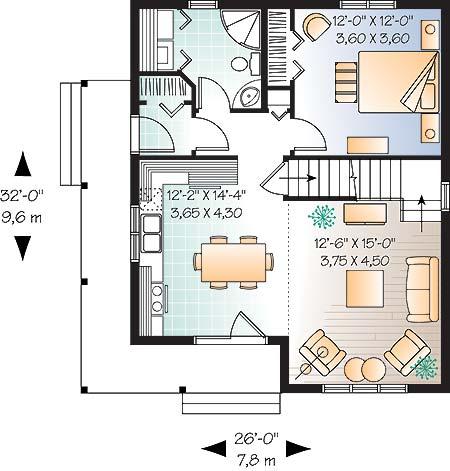 Plano de casa grande de 2 dormitorios for Dormitorio 6 metros cuadrados
