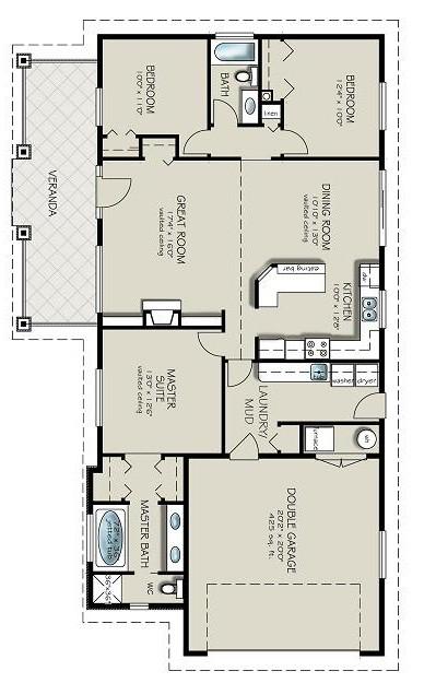 Plano casa de campo de 1 piso y 3 dormitorios for Planos de cocina y lavanderia
