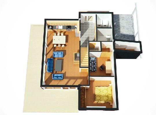 Plano de hermosa casa moderna de 140 metros cuadrados for Diseno de casas 3d online