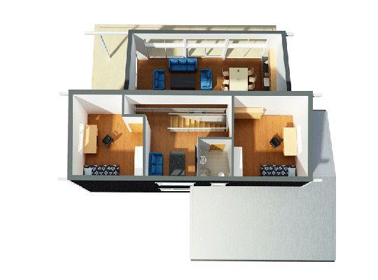 Plano de hermosa casa moderna de 140 metros cuadrados for Planos de casas de un piso en 3d