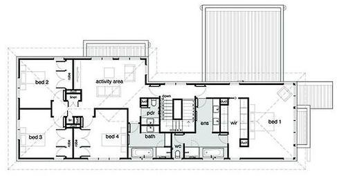 Plano de casa moderna de 332 metros cuadrados for Plano casa moderna 90m2