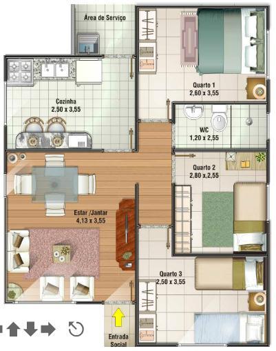 Plano de casa de 67m2 y 3 dormitorios for Bathroom ideas 9x6