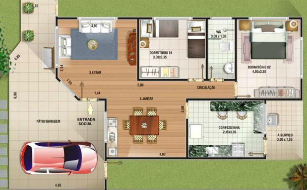Plano de casa de 1 piso y 2 dormitorios 114 metros cuadrados for Plano casa minimalista 3 dormitorios