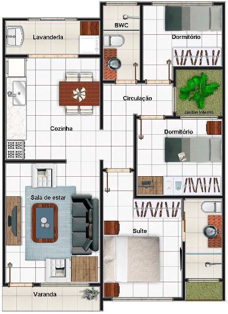 Plano de casa de 1 piso y 3 dormitorios moderna for Piso 3 habitaciones alcobendas