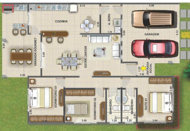 planos de casas tres habitaciones dos baños