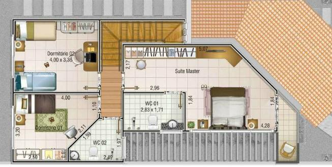 planos de casas de 2 pisos y 4 dormitorios 3d