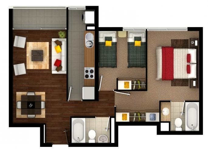 Plano de departamento de 60 m2 for Modelos de departamentos pequenos para construir
