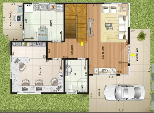 Plano de casa moderna 133m2 3 dormitorios y 2 pisos for Casas modernas de 70m2