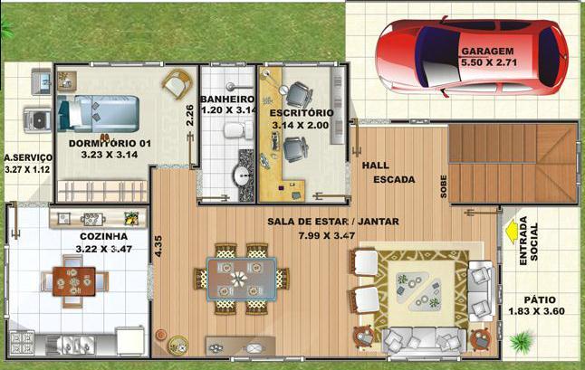 Plano de casa de 154 m2 dos pisos y 3 dormitorios for Planos de viviendas de un piso