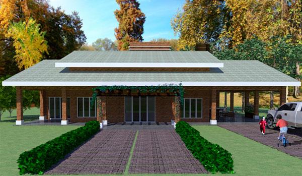 Plano de casa de campo de 228 m2 y 3 dormitorios de 1 piso for Fachadas de casas de campo