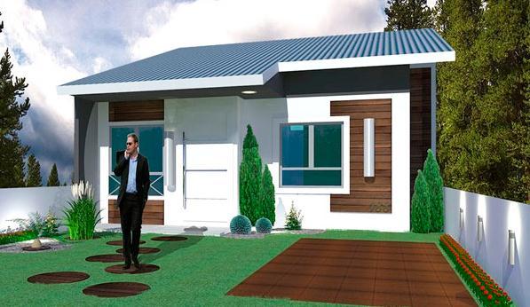 Plano de casa de 53 m2 y 2 dormitorios de 1 piso - Fachadas de casas pequenas de un piso ...