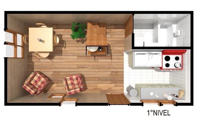 Plano de casa prefabricada de 40 m2 para sitio angosto for Planos de departamentos de 40m2