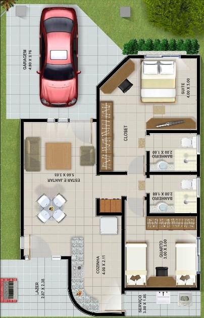 Plano de casa de 94 m2 y 2 dormitorios for Planos de casas de dos dormitorios