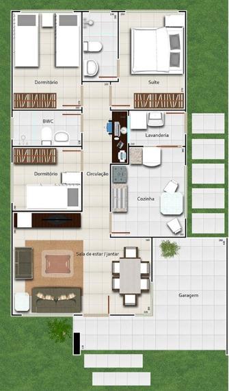Plano de casa mediterr nea de 93 m2 y 3 dormitorios for Modelos de casas de 3 dormitorios