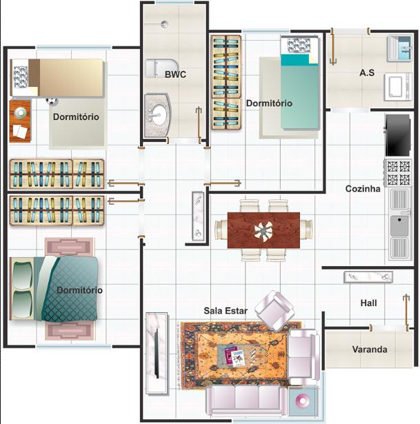 Plano de casa mediterr nea 3 dormitorios 68 m2 for Plano casa minimalista 3 dormitorios
