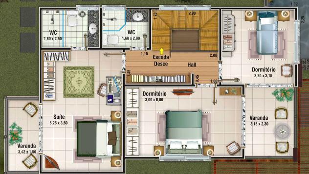Plano De Casa Grande De 156m2 Y 3 Dormitorios