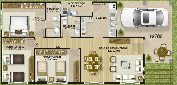 plano de casa de 112 m2 y 3 dormitorios