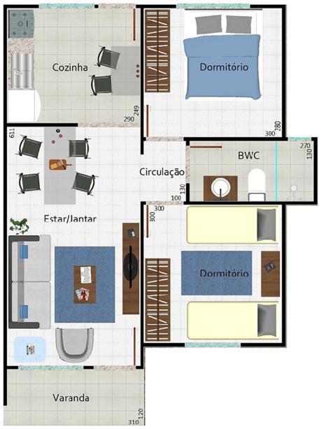 plano de casa de 53 m2 y 2 dormitorios de 1 piso