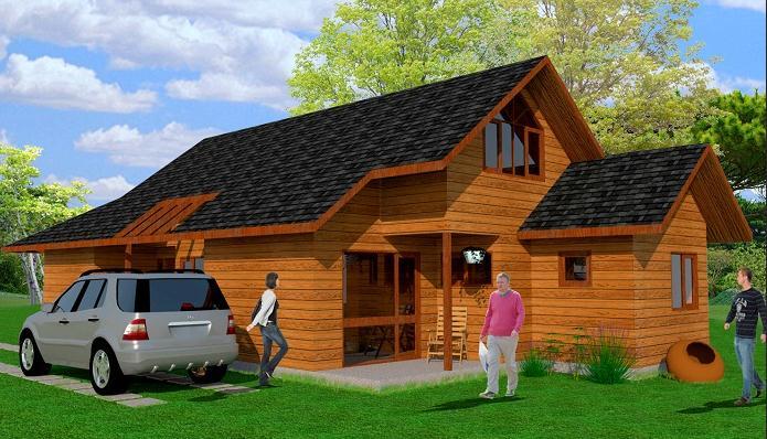 fachada casa de campo cabana