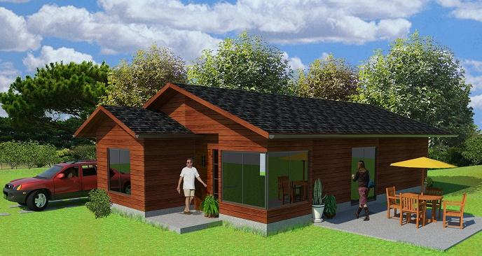 Plano casa de campo prefabricada de 93 m2 for Disenos y planos de casas prefabricadas