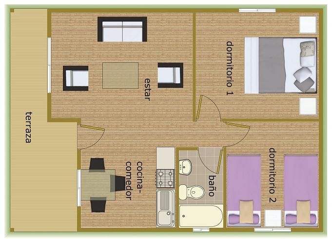 Planos de caba as casa de 50 y con variaci n a 56 m2 for Piso 60 metros cuadrados 3 habitaciones