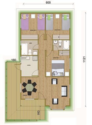 Plano de casa de campo de 82 m2 3 dormitorios y 2 ba os for Planos de casas de campo de 3 dormitorios