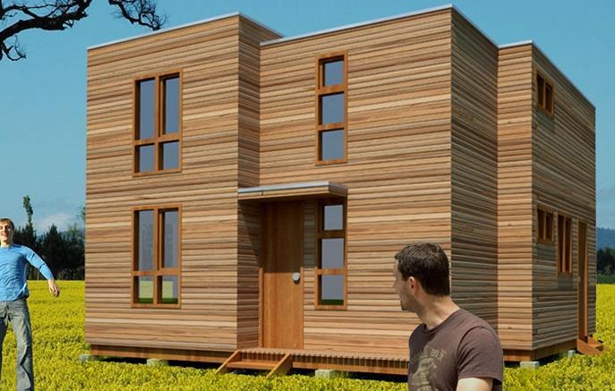 Plano de casa moderna de 72 m2 y 2 pisos for Casas prefabricadas modernas