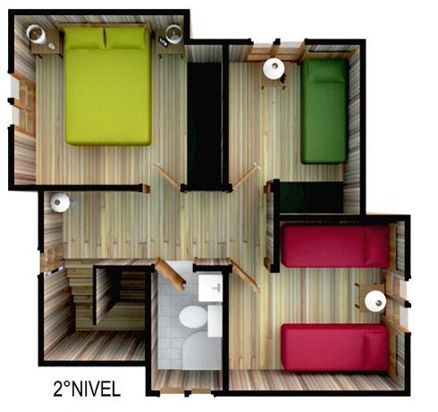 Plano de casa moderna de 72 m2 y 2 pisos for Modelo de casa segundo piso