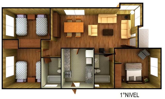 Plano casa de campo prefabricada de 93 m2 for Planos de casas de campo de un piso