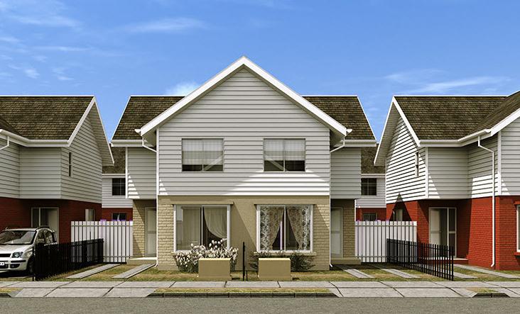 Plano o proyecto de casa pareada de dos pisos for Fachadas de casas segundo piso