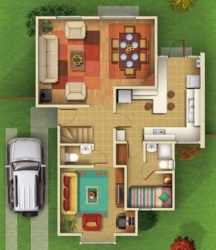Proyecto de casa con planos cuatro dormitorios y dos pisos for Planos de habitaciones