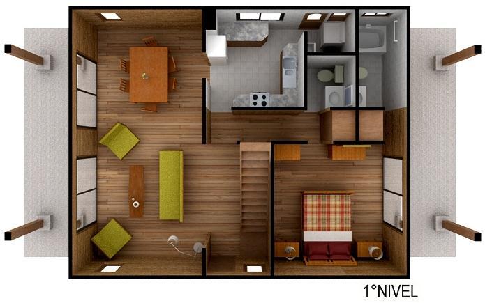 Dise o de casa prefabricada de madera for Planos de casas de madera de una planta