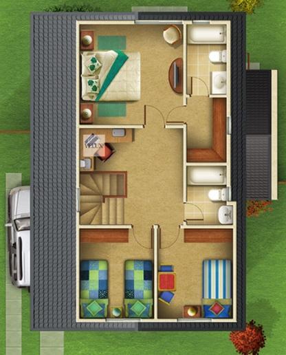 Proyecto de casa con planos cuatro dormitorios y dos pisos for Planos para segundo piso