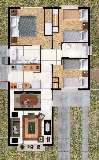 Plano de casa de 63 mt2 y 3 dormitorios for Dormitorio 12 metros cuadrados