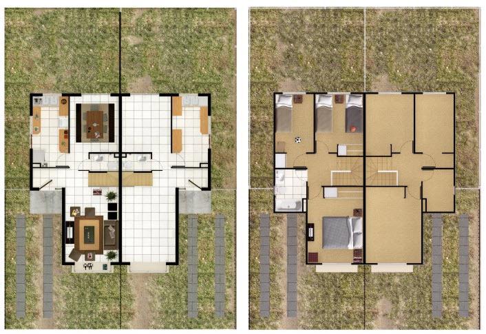 Plano o proyecto de casa pareada de dos pisos - Planos de casas pareadas ...