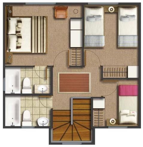 plano de casa de 3 dormitorios 2 pisos y 2 ba os