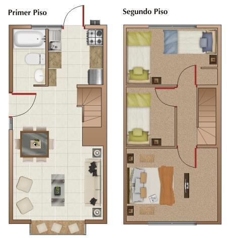 planos de casas de dos pisos 3 habitaciones