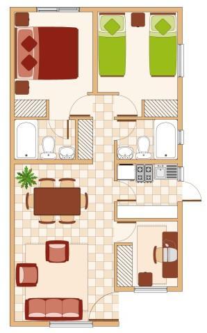 Plano de casa con 3 dormitorios 2 ba os y 58 mt2 for Casa de una planta sencilla