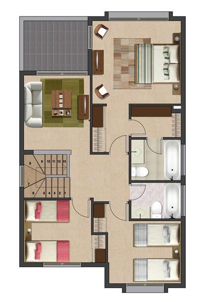 Plano de casa de 2 pisos 4 dormitorios y 4 ba os 140 m for Disenos de casas 120 m2