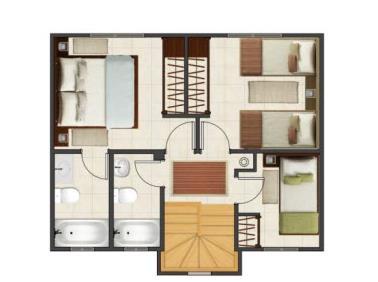 plano de casa pareada de 75 metros cuadrados