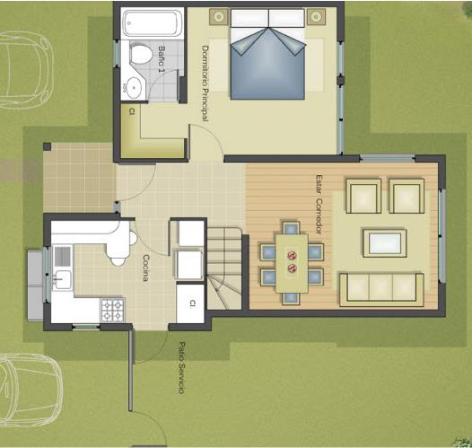Plano de casa grande de 3 dormitorios y 2 pisos for Hacer planos de habitaciones