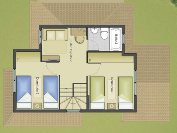 Plano de casa grande de 3 dormitorios y 2 pisos for Planos para segundo piso