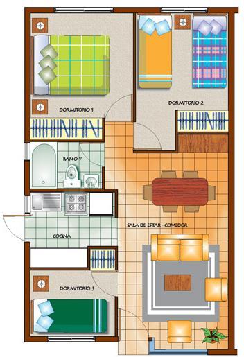 Plano de casa peque a de 46 metros cuadrados for Crear mi casa en 3d