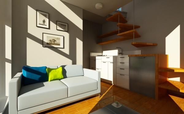 Plano de mini casa de dos pisos de 3 x 3 mtrs Departamentos de dos pisos