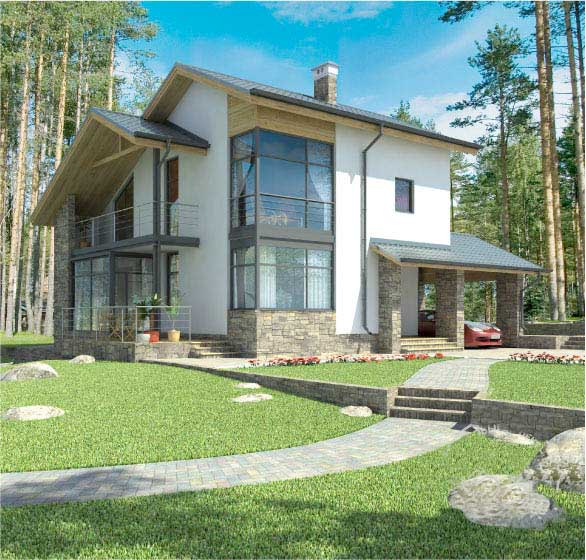 Plano de casa de campo grande y moderna for Planos de casas de campo modernas