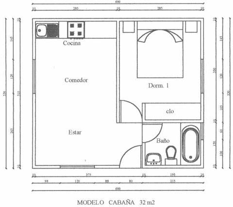 Planos de cabañas de 24 metros cuadrados