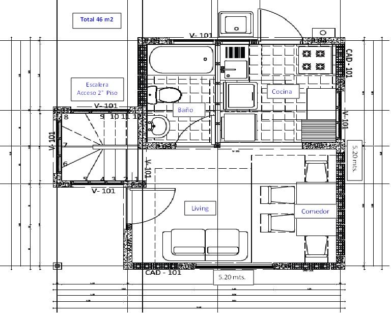 Planos de pr ctica casa de dos pisos 46m2 for Planos para construccion casas pequenas