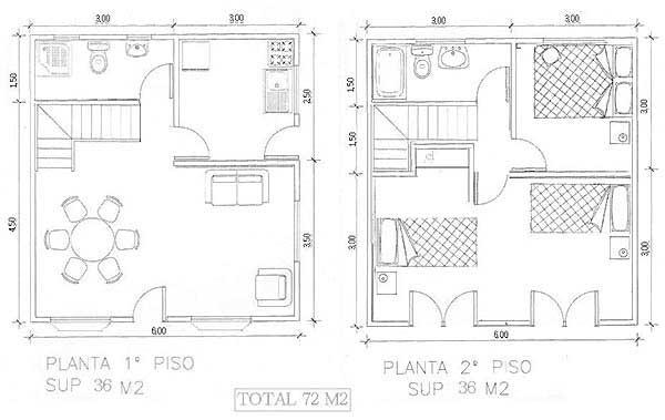 Plano de casa de dos pisos de madera de 72m2 con medidas for Planos de casas con medidas