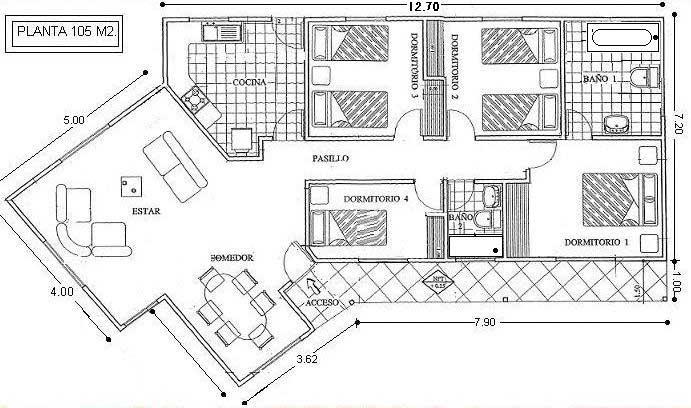 Plano De Casa De Campo De 105 M2 Con Medidas